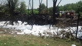 Crews use foam to extinguish tire fire_3580990