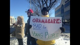 Protesters gather at site of Pres. Obama visit - (1/4)