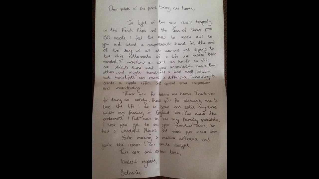 Womans awesome Thank You note to pilots is going viral – Boyfriend Thank You Letter Sample