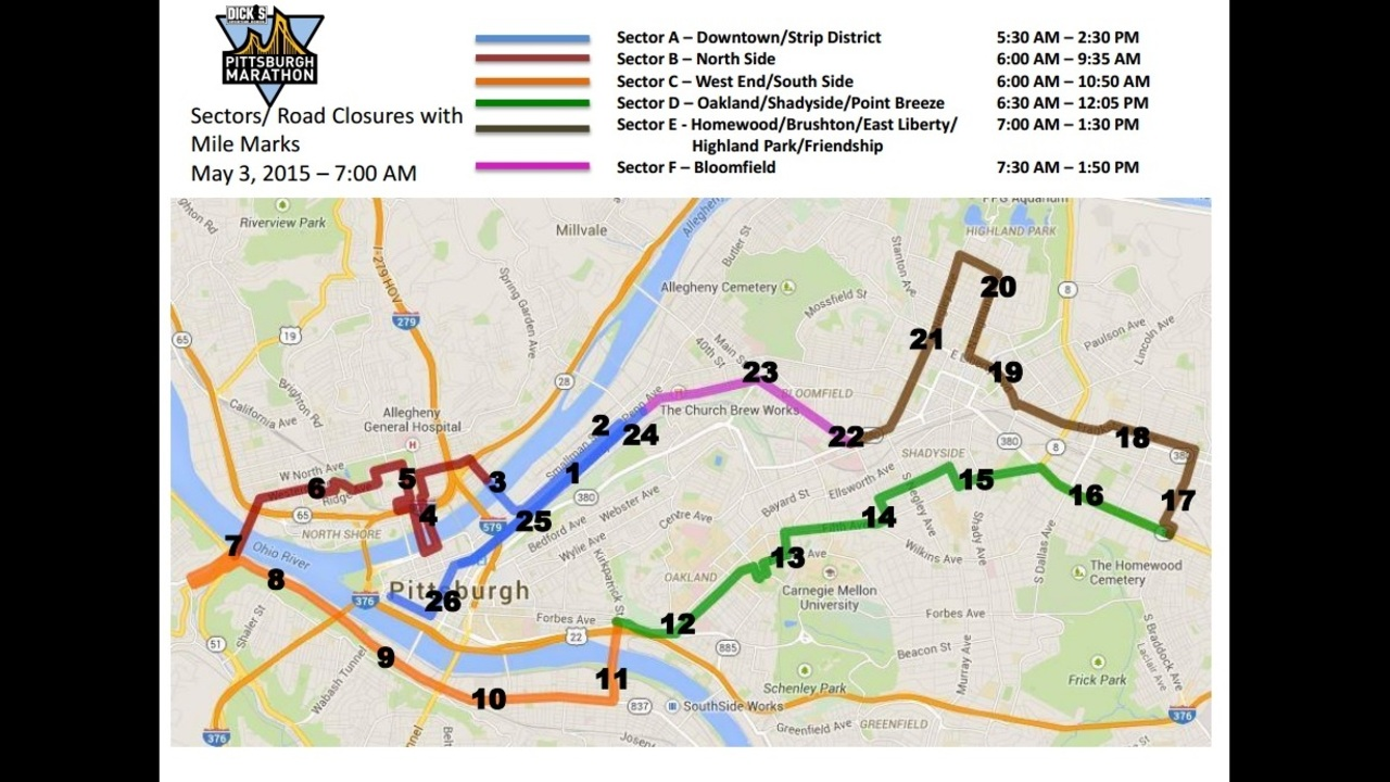 Road Closures Increased Security In Effect For Pittsburgh Marathon