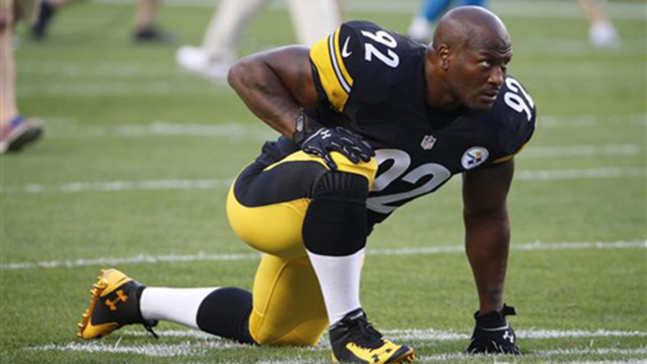 ad6d05f701e Steelers LB Harrison walks through random NFL drug test on... - WPXI