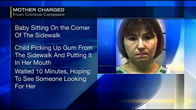 Police Mom charged after -year-old found alone eating gum off