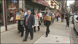 Police called as demonstrators march on Highmark's downtown headquarters