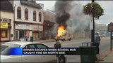Flames rip through school bus in Pittsburgh's North Side