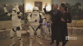 Stormtroopers celebrate Star Wars Day with Presidential dance party