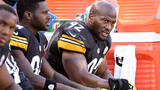 Pittsburgh Steelers outside linebacker James Harrison (92) looks on from the bench against the Philadelphia Eagles during the first half of an NFL preseason football game in Pittsburgh, on Thursday, Aug. 18, 2016. (AP Photo/Fred Vuich)