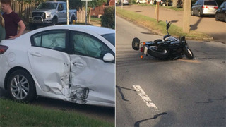 Motorcyclist in serious condition after hitting vehicle