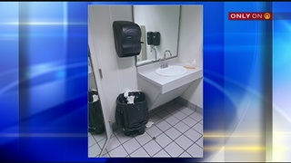 Newborn baby left in trash can at gas station