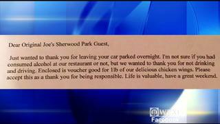 Bar patrons return to find notes on cars parked overnight