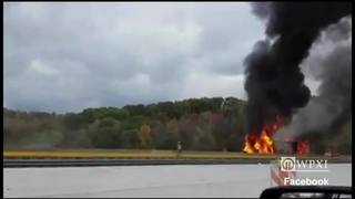 RAW: Tractor-trailer fire on Parkway West