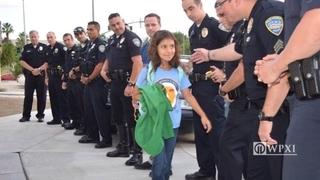 Daughter of fallen officer gets police escort back to school