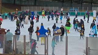 "RAW: 30th annual ""Mascot Skate"" at Schenley Park Skating Rink"