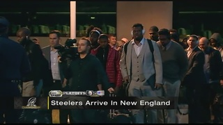 Steelers arrive in New England
