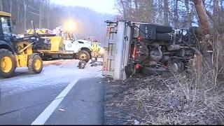 RAW: Dump truck hauling sand overturns on Gibsonia Road in Richland Twp.