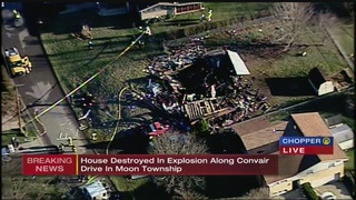 Explosion damaged front of Moon Township home, fire caused collapse