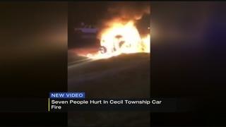 7 injured in Washington County crash, car fire