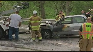 Man rushes to rescue driver involved in fiery 3-vehicle crash