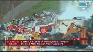 Fiery truck crash closes eastbound Turnpike