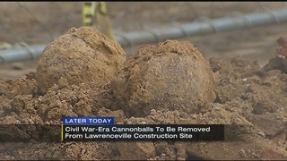 Civil War cannon balls to be removed from construction site
