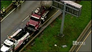 RAW: Chopper 11 over Route 28 crash, spill