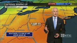 Southerly flow of air brings highs near 80 Wednesday