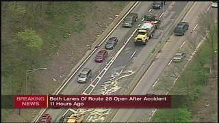Truck crash, fuel spill close part of Route 28 for most of day
