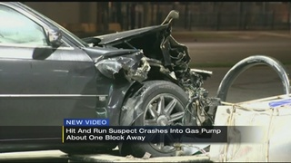 VIDEO: Hit and run suspect crashes into gas pump
