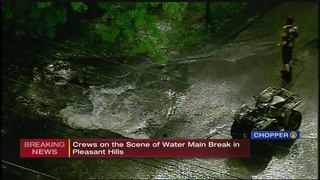 Massive water main break closes Pleasant Hills road