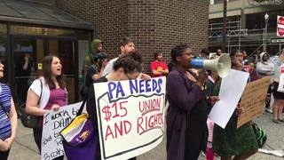 VIDEO: Protesters outside fast food restaurant calling for $15 an hour