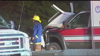 Side panel airbag saves man in car vs. ambulance crash