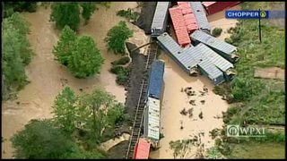 Train cars apparently knocked off tracks in Indiana County floodwaters