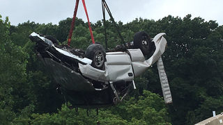 PHOTOS: Truck plummets off turnpike overpass