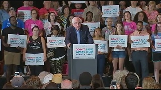 Bernie Sanders attends health care rally at convention center