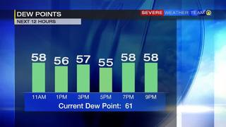 Dew point forecast for Saturday (6/24/17)
