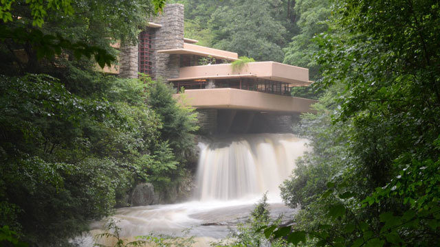 falling water house statue flipped by flooding fallingwater 11190