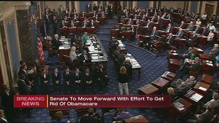 VP Pence breaks tie as Senate votes to start debate on GOP health care bill