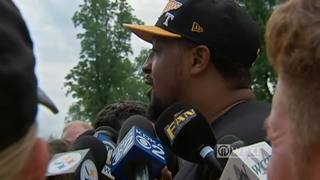 Ramon Foster speaks with the media at Steelers camp