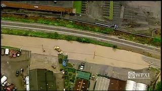 Raw Video: Flooding along Streets Run Road