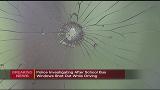 School bus window shot out on Pittsburgh street