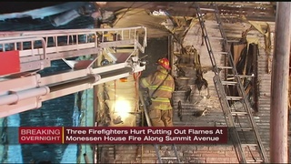 3 firefighters hurt while battling house fire