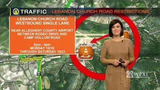TRAFFIC: Lebanon Church Road restrictions (10/16/17)