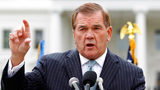 FILE - In this Oct. 22, 2011, file photo, former Secretary of Homeland Security Tom Ridge speaks to a crowd of hundreds protesting in front of the White House in Washington. (AP Photo/Jose Luis Magana, File)