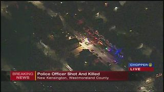 Chopper 11 flies over scene of fatal shooting of police officer
