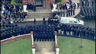 RAW: Funeral procession for Officer Shaw met by sea of law enforcement at church