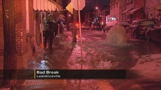 Water main break creates freezing concerns on Lawrenceville streets