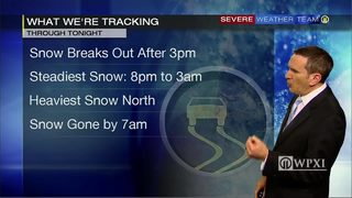 Tracking snow into area Wednesday and how much you can expect (12/13/17)