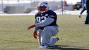 New England Patriots linebacker James Harrison stretches during an NFL football team practice Wednesday, Dec. 27, 2017, in Mass. The Patriots signed the 39-year-old, five-time Pro Bowl linebacker after he was released. (AP Photo/Bill Sikes)
