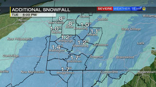 When snow will stop, how much more will fall (1/16/18)
