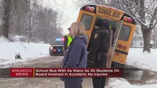School bus slides off road; no students injured