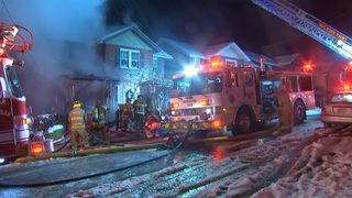 Fire burns through house as street turns to ice
